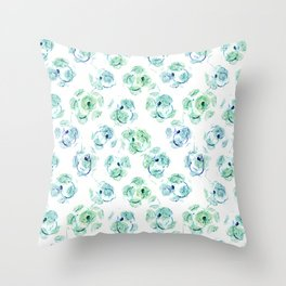 Abstract floral turquoise and white pattern. Throw Pillow