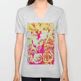 bouquet of roses texture pattern abstract in pink red yellow Unisex V-Neck