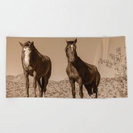 Wild_Horses Sepia 3501 - Nevada Beach Towel