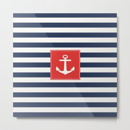 Anchor on blue and white stripes Metal Print