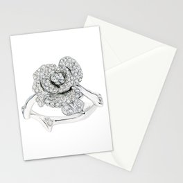 Silver Rose Ring Stationery Cards