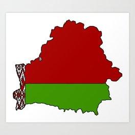 Belarus Map with Belarusian Flag Art Print
