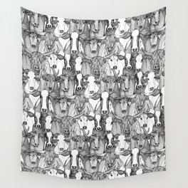 just cattle black white Wall Tapestry
