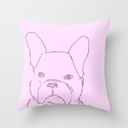Sketched Frenchie (Pink) Throw Pillow