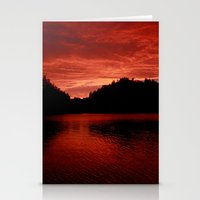 norway Stationery Cards featuring Sunset Norway by Christine baessler