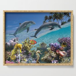 Coral Reef and Dolphins Serving Tray