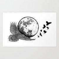 Raven Moon Art Print