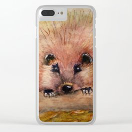 Pink Hedgehog Clear iPhone Case