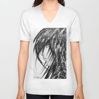 no face V-neck T-shirts featuring Face by rchaem