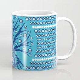 Greek Eye Tree - Mati Mataki on sky blue Coffee Mug