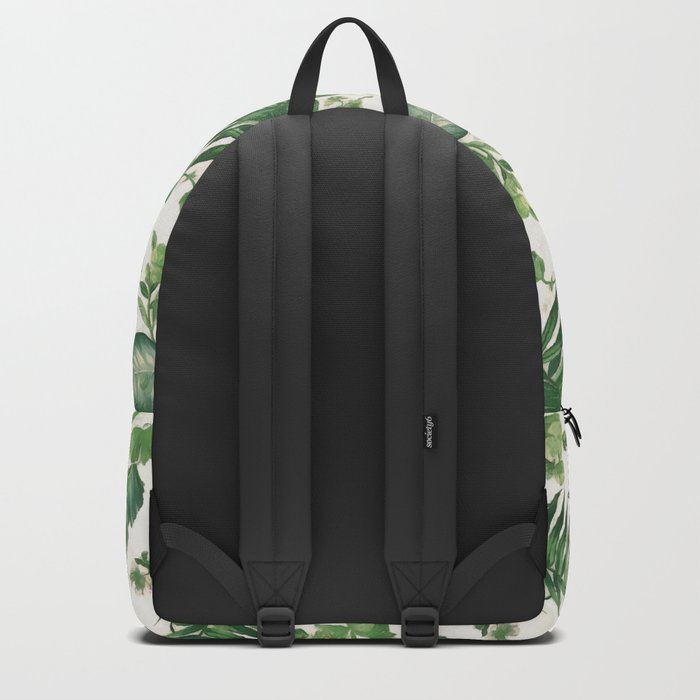Green tropical leaves Backpack
