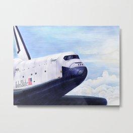 Enterprise Through The Clouds - Drawing Metal Print