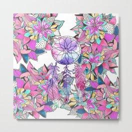 Colorful magenta teal watercolor dream catcher floral Metal Print