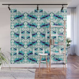 Hippopotamus Blue Wall Mural