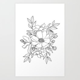 Floral Bunch - Black and White Art Print