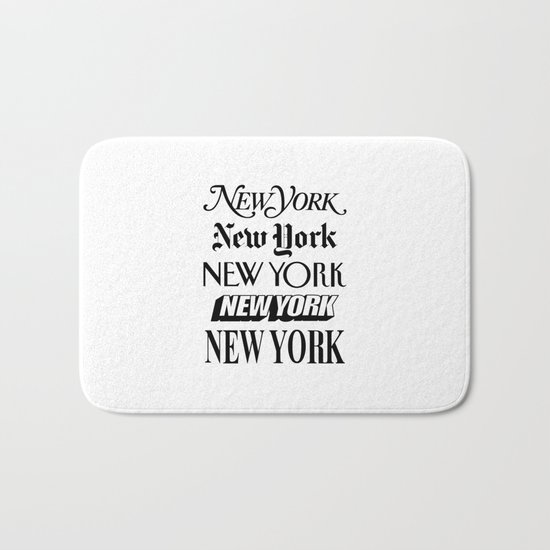I Heart New York City Black and White New York Poster I Love NYC Design Bath Mat