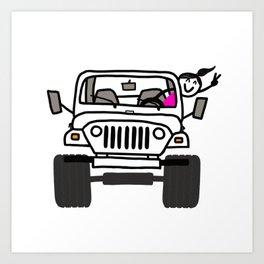Jeep Wave White - Girl Art Print