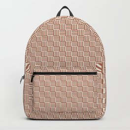 Cavern Clay SW 7701 and Creamy Off White SW7012 Grid Tessellation Stripe Lines Weave Pattern Backpack