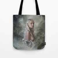 mother of dragons Tote Bags featuring Mother of Dragons by Flo Tucci