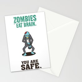 Zombies Eat Brain - Funny Humor Quotes Stationery Cards