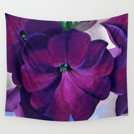 Purple Petunias Sill Life Floral Painting by Georgia O'Keeffe Wall Tapestry