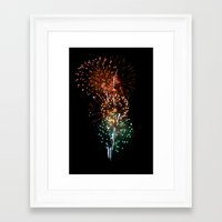 fireworks Framed Art Prints featuring Fireworks by Tanya Thomas
