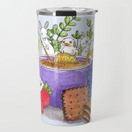 Tea Time Bunnies - Illustration - Rabbit Artwork - Cute Travel Mug