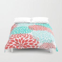 Coral Teal Dahlia Bouquet Duvet Cover