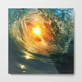 Beach - Wave - Sun - Sunset - Sundown - Ocean Metal Print