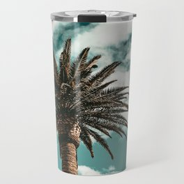 Lush Palm {1 of 2} / Teal Blue Sky Tree Leaves Art Print Travel Mug