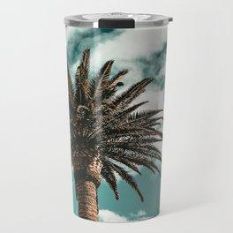 Lush Palm {1 of 2} / Teal Blue Sky Tree Leaves Art Print Travel Mug