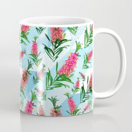 Beautiful Pink Australian Natives on Blue Geometric Background Coffee Mug