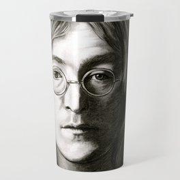 John in Black and White Travel Mug