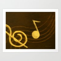 music notes Art Prints featuring Golden Umber Music Notes by Tina A Stoffel Arts