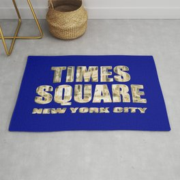 Times Square New York City (gold lettering on blue) Rug