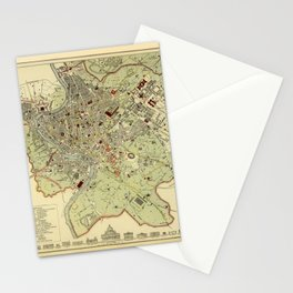 Map Of Rome 1882 Stationery Cards