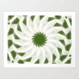 Green White Kaleidoscope Art 10 Art Print