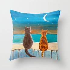 Cats on a Fence Throw Pillow
