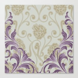 Abstract Lily Scroll   taupe grape Canvas Print