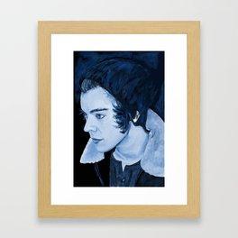 Blue Painting of Harry Styles Framed Art Print