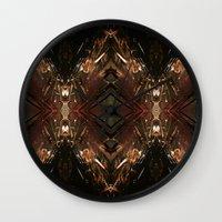 battlestar galactica Wall Clocks featuring Galactica by Robin Curtiss
