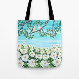 red bellied woodpeckers and daisies Tote Bag