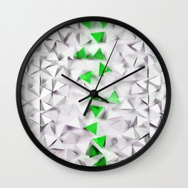 Green triangles on white field Wall Clock