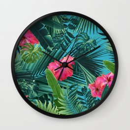 Tropical Hibiscus Flower Jungle Pattern #1 #tropical #decor #art #society6 Wall Clock