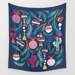 Mexican Christmas Tree // blue background blue pine leaves multicoloured holiday decorations pan dulce balls cacti hearts birds pom-pom garland pinatas santa claus conchas donuts Wall Tapestry