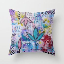 Flowers in freedom Throw Pillow