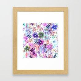 Eden Floral Multi White Framed Art Print