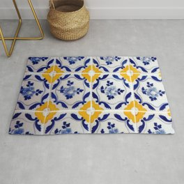 Blue and yellow tile Rug