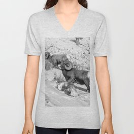 2 Amazing Bighorn Sheep in Black and White by OLena Art for #Society6 Unisex V-Neck