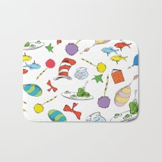dr seuss pattern..  cat in the hat, lorax, oh the places you'll go,  Bath Mat